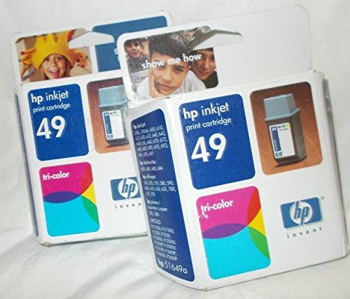 HP® 51649A, 51649A (49) Inkjet Cartridge INKCART,DJ 600 SERIES,COL (Pack of 2)