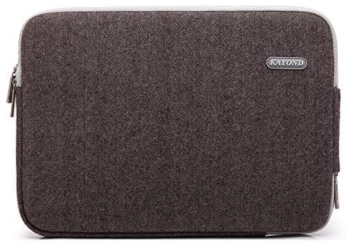 KAYOND Herringbone Woollen Waterproof Fabric 15.6-17 Inch Laptop Sleeve Case Compatible Old MacBook pro 17, Brown
