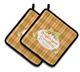 Caroline's Treasures BB6920PTHD Fall Pumpkin Spice and Everything Pair of Pot Holders, 7.5 x 7.5'', Multicolor