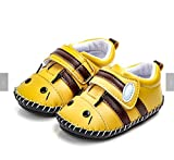 FAJ Soft Sole Handmade Cute Animal Baby Shoes (6-12 Months, Yellow)