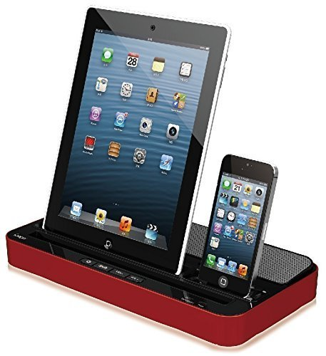 ipega Techno S 2 IN 1 CHARGER SPEAKER DUAL DOCK STATION FOR iPhone 7 7Plus, 6s, 6, 6 Plus, 5s, 5c, 5, 4s, 4 iPad Air/iPad Air2, iPad2,3,4, iPadmini & SMARTPHONES AND TABLETS, iPOD, GALAXY,(Red) (Best Speaker Dock For Iphone 5s)