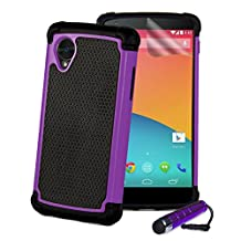 32nd® Shock proof defender heavy duty case cover for Google Nexus 5 + screen protector, cleaning cloth and touch stylus - Purple