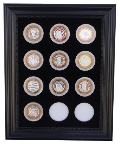 (Tiny Treasures, LLC. Black Silver Strike Display Frame for 12 Silver Strikes Casino Coins (Not Included))