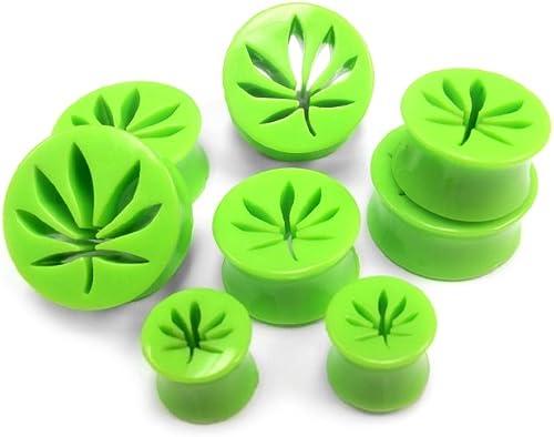 1 PAIR POT LEAF HOLLOW GREEN ACRYLIC PLUG WEED MARIJUANA EAR TUNNELS GAUGES