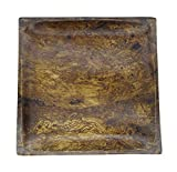 "Mango Wood Plate Handmade Sustainable Wooden Square Plates Dinner Plates Canape Cheese Plates (8"", Mottled)"
