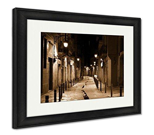 Barcelona Framed - Ashley Framed Prints Barcelona, Wall Art Home Decoration, Sepia, 30x35 (Frame Size), Black Frame, AG5599480