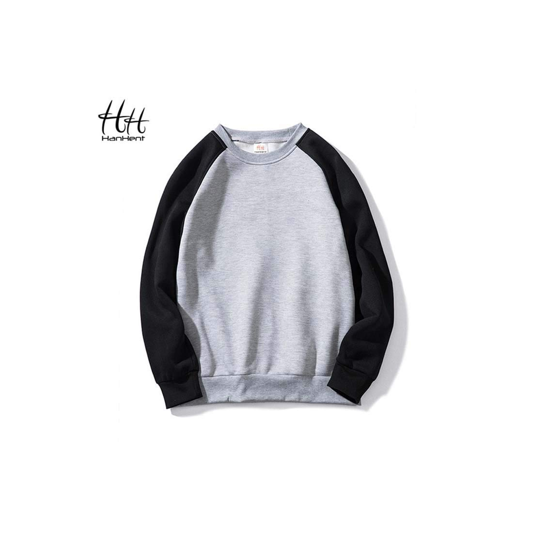 Indian Clothing Store HANHENT HH Polyester Crew Neck Grey Men Sweatshirts