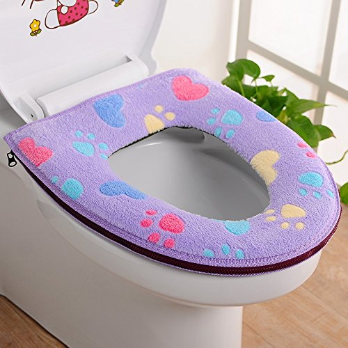 JD Million shop 1 pcs Bathroom Use Soft Toilet Seat Cover Washable Toilet Seat Cover With Zipper Toilet Cat's Paw Seat Cover Cushion ZH01083