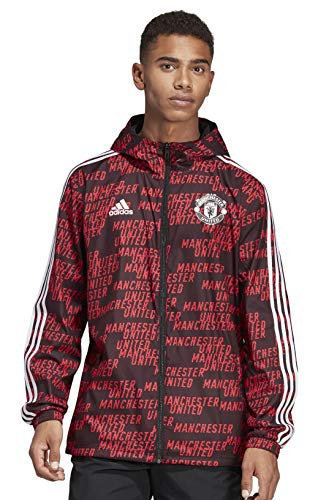 adidas Men's Manchester United Windbreaker, Black/Real Red, Small ()