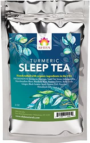 Shifa Sleep Tea with Turmeric: Relaxing Tonic for a Restorative Night's Sleep with Herbs, Phytonutrients and Antioxidants — 1.5oz.