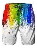 NEWISTAR Boys Teens 3D Rainbow Graphic Shorts Swimming Shorts Summer Beach Shorts Swimming Trunks XX-Large Rainbow