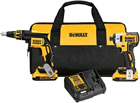 DEWALT 20V MAX XR Drywall Screw Gun Impact Driver Kit, 2.0-Amp Hour DCK267D2