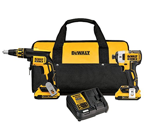 DEWALT 20V MAX XR Drywall Screw Gun & Impact Driver Kit, 2.0-Amp Hour (DCK267D2)