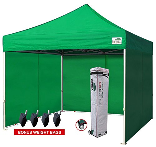 Eurmax 10×10 Ft Easy Pop-up Canopy Commercial Instant Party Tent with 4 Removable Sides and Roller Bag, Bonus 4pcs Weight Bags (Kelly Green)