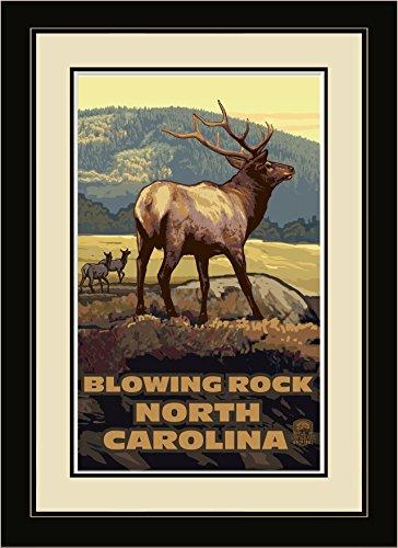 Northwest Art Mall EH Blowing Rock North Carolina Elk Herd Framed Wall Art by Artist Paul A. Lanquist, 16