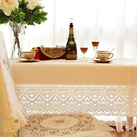 Ustide Eco Friendly Plastic Tablecloth Lace Tablecloth Overlays