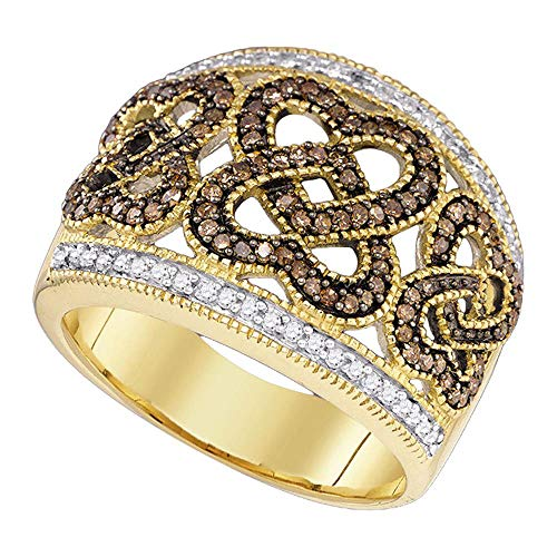 - Jewel Tie - Size 7 - Solid 10k Yellow Gold Chocolate Brown Diamond Heart Love Cockail Ring (1/2 Cttw.)