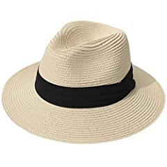 "Women Wide Brim Straw Panama Roll up Hat Fedora Beach Sun Hat UPF50+ Features   ""Lanzom"" brand registered, all rights reserved.  Breathable Paper Straw, soft and comfortable to wear  Exquisite workmanship and neat stitching Packable design fo..."