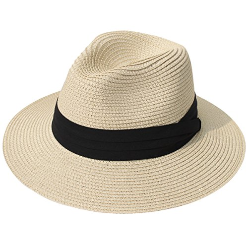 Lanzom Women Wide Brim Straw Panama Roll up Hat Fedora Beach Sun Hat UPF50+ (Khaki) One Size (Hat Summer)