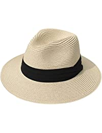 3a5b58ec4df Women Wide Brim Straw Panama Roll up Hat Fedora Beach Sun Hat UPF50+
