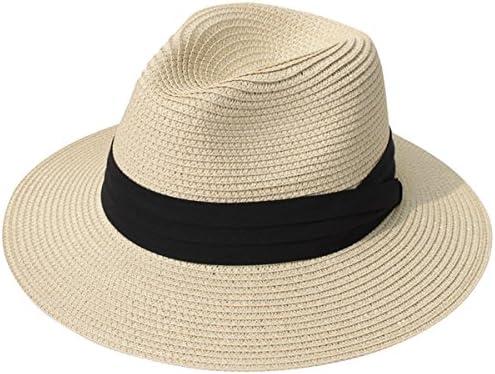 bc1fc403 Lanzom Women Wide Brim Straw Panama Roll up Hat Fedora Beach Sun Hat UPF50+