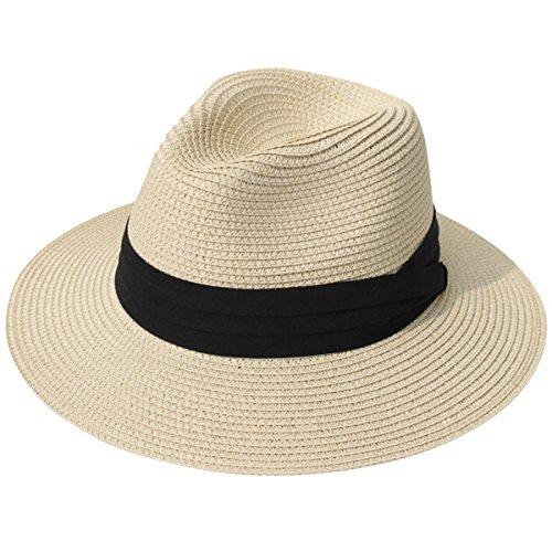 Lanzom Women Wide Brim Straw Panama Roll up Hat Fedora Beach Sun Hat UPF50+ (Khaki) One Size