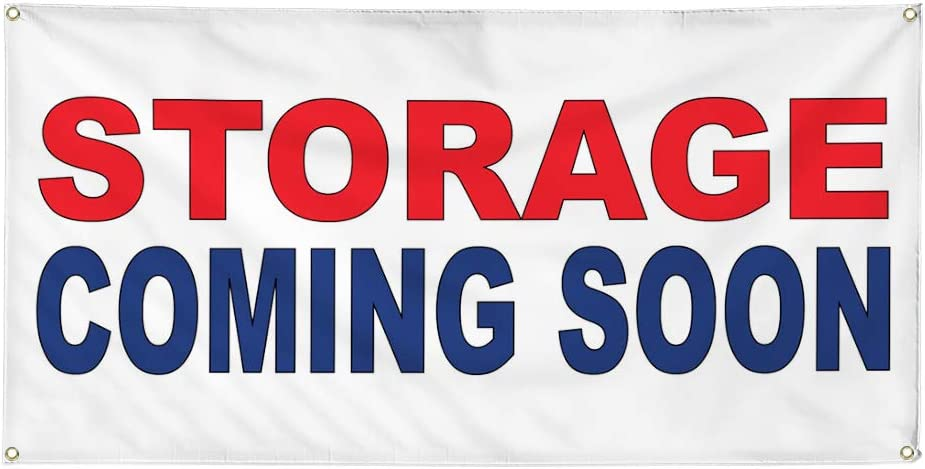 Vinyl Banner Multiple Sizes Storage Coming Soon Red Blue Business Outdoor Weatherproof Industrial Yard Signs 8 Grommets 48x96Inches