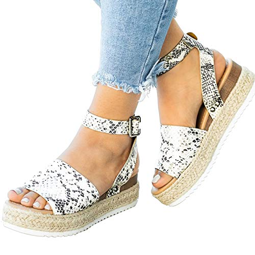 (XMWEALTHY Women's Ankle Strap Platform Wedges Sandals Casual Open Toe Espadrilles Sandals for Summer Beige Python US 8)