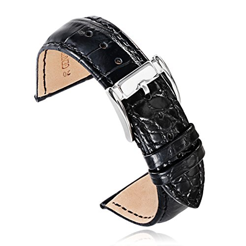 Crocodile Watch Strap (20mm Black High-end Crocodile-Embossed Calfskin Leather Watch Straps Bands Replacement for Luxury Watches (20bksl) …)