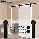 WINSOON Country Basic Interior Steel Sliding Barn Door Hardware Kit Rail Track Set Straight Style Fit Single Wooden Door (6FT /72'' 1 Door Track Kit)