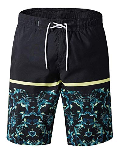 e6ded2ebc4 APTRO Men's Swimming Trunks with Pockets Beach Swimwear Quick Dry Elastic  Waist Board Shorts (XXXL, Y-Black with mesh Lining)