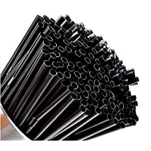 200pcs Disposable PP Black Bendy Straw Drinking Straws for Cocktails and Long Drinks
