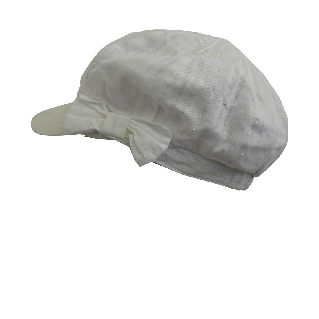 White Ladies Cap with Silver Lines and Bow on The Side