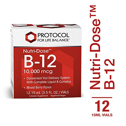 Protocol For Life Balance - Nutri-Dose™ B-12 10,000 mcg - Convenient Vial Delivery System with Complete Liquid B-Complex, Supports Nervous/Digestive System - Mixed Berry Flavor - 12 : 15 mL Vials