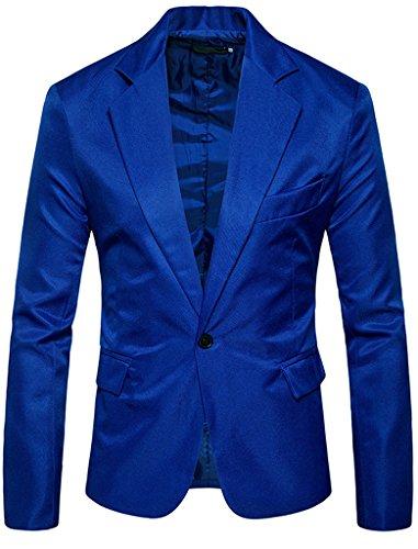 - FEHAAN Mens Slim Fit Suit Side-Vent One-Button Coats Jacket Royal Blue