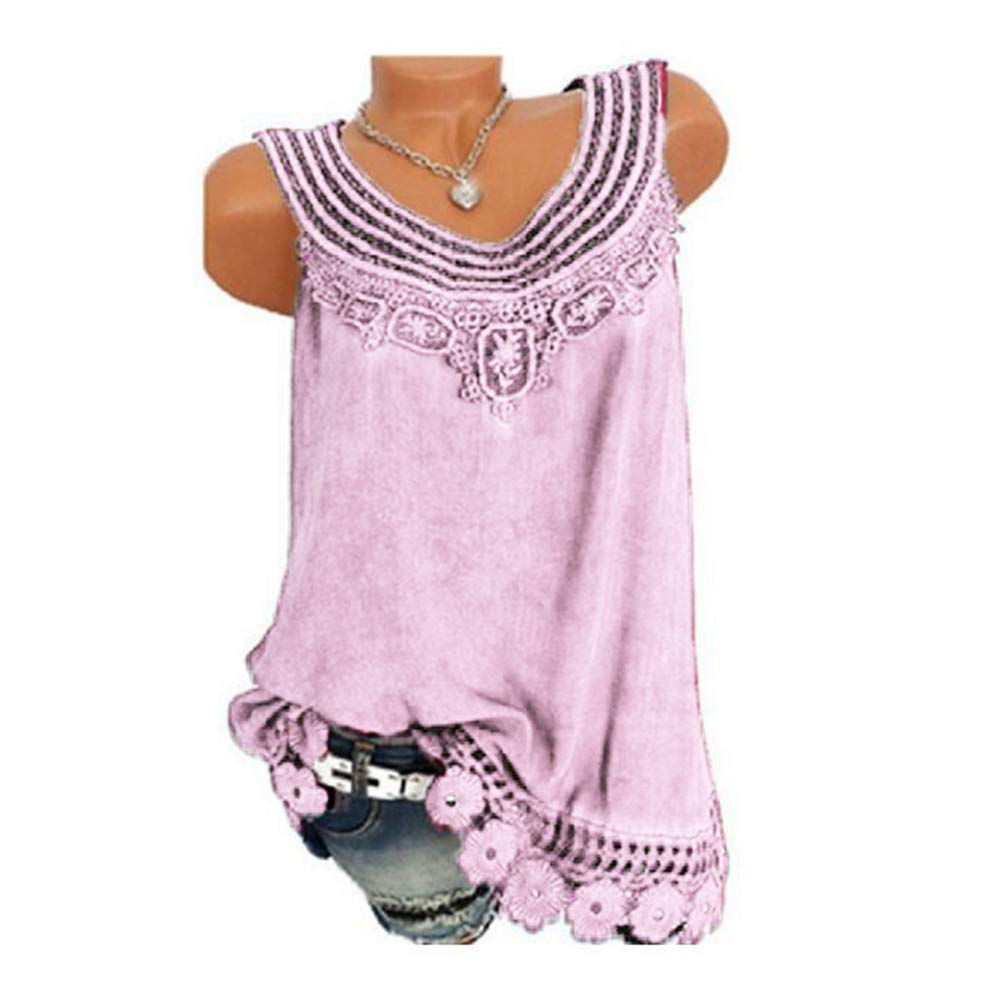 Holeider Tops T-Shirt Bluse Weste Trägertops Damen Sommer Loose Rundhals Ärmellose Reine Farbe Spitze Übergröße