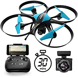 U49W Drone with Camera Live Video 15-Min. Flight Wi-Fi FPV Quadcopter