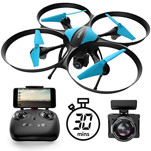 U49W Drone with Camera Live Video - Altitude Hold Headless Mode 15-Min. Flight Wi-Fi FPV Quadcopter by Force1