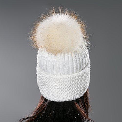URSFUR Unisex Autumn Knit Wool Beanie Cap with Fur Ball Pompom Womens Winter Hat