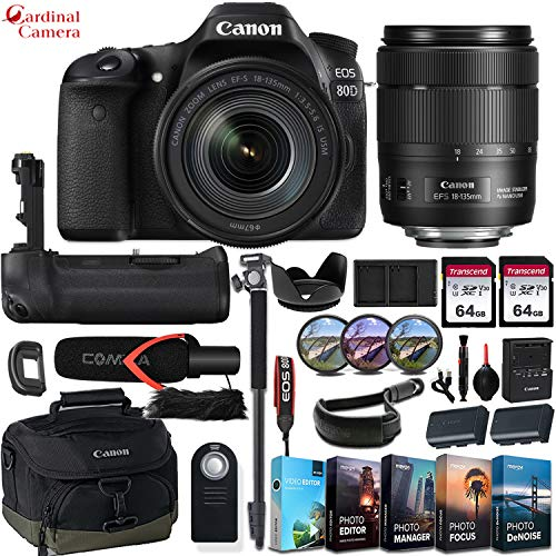 Canon EOS 80D DSLR Camera w/Canon EF-S 18-135mm f/3.5-5.6 is USM Lens + Pro Microphone + Battery Grip + Canon Wrist Band & Exclusive Editing Software & Accessory Bundle