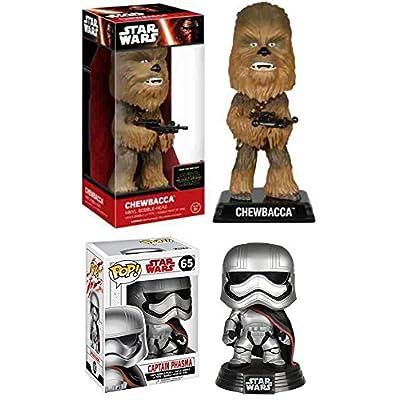 Funko POP! Star Wars: Captain Phasma (The Last Jedi) + Wacky Wobbler Chewbacca – Stylized Vinyl Bobble-Head Figure Set NEW