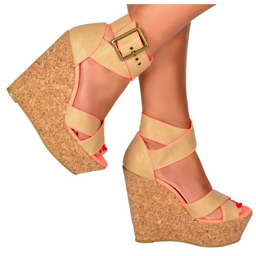 Cross Plattformen Tan Cork Korallenrote Wedge Over Rosa Ankle rosa Strap Frauen Peep Dolcis Damen Toe wB0ZYf