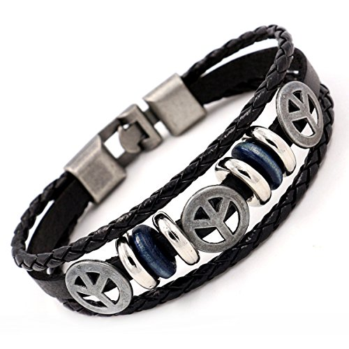 Black Peace Sign Bracelet - Peace Sign Symbol Vintage Leather Bracelet for Men Women Braided Rope Black