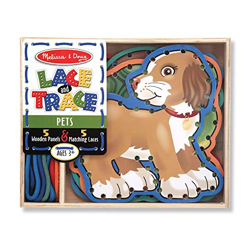 Melissa & Doug Lace & Trace Activity Set: Pets (5 Wooden Panels and 5 Matching Laces, Great Gift for Girls and Boys - Best for 3, 4, and 5 Year Olds)