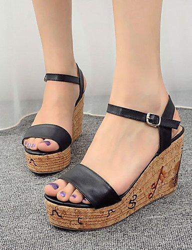 ShangYi Womens Shoes Leatherette Wedge Heel Open Toe Sandals Dress Black / White Black