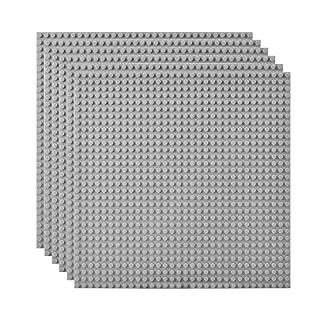 """Lekebaby Classic Baseplates Building Base Plates for Building Bricks 100% Compatible with Major Brands-Baseplate 10"""" x 10"""", Pack of 6, Grey"""