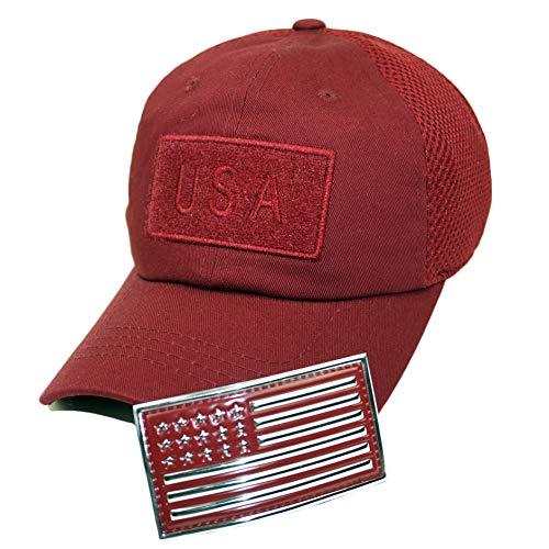 Bingoo Parche de con Bandera Estadounidense para Bordado táctico de béisbol Americano, borgoña/Plateado, Talla única