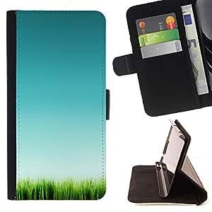 For Apple iPhone SE / iPhone 5 / iPhone 5S Case , Hierba Verde Naturaleza Limpia Pura- la tarjeta de Crédito Slots PU Funda de cuero Monedero caso cubierta de piel