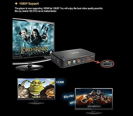 Andoer Measy Reproductor Multimedia A1HD Full HD 1080P HD MKV H.264 con Puerto de Video y Audio HD Host USB 2.0 Tarjeta SD Lector de Ranura de Control Remoto IR para HDTV