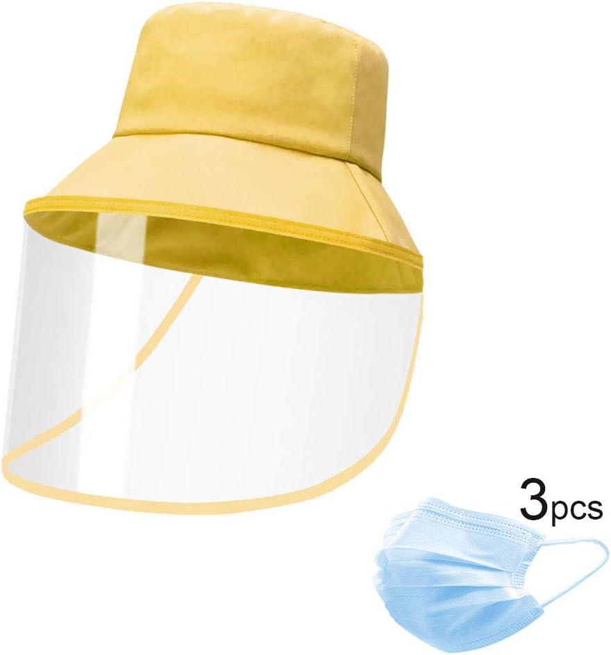 H-LML Sombrero de protección Facial, Multifuncional Anti-Spray y Pescador protección contra el Polvo Sombrero extraíble (, Ajustable),Amarillo